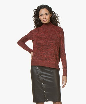 Rag & Bone Bowery Marled Turtleneck Sweater - Candy Red
