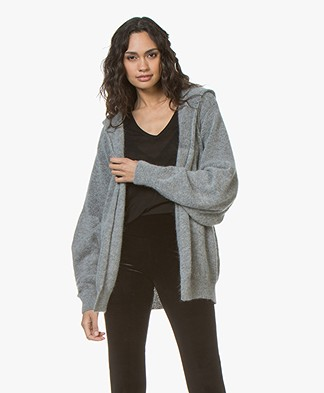 Fine Edge Soft Hooded Cardigan - Ghost Grey