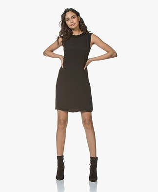 By Malene Birger Minola Sleeveless Crepe Satin Dress - Black