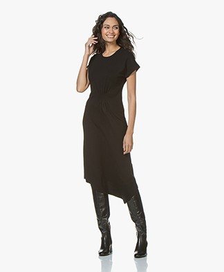 By Malene Birger Sketsy Twill Jersey Midi Dress - Black