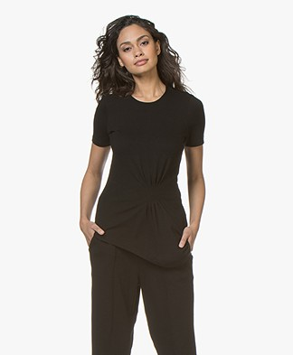 By Malene Birger Kimo Pleated Twill T-shirt - Black