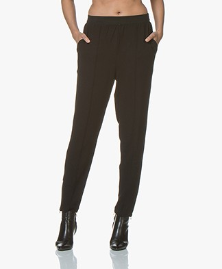 By Malene Birger Sunday Twill Jersey Loose-fit  Pants - Black