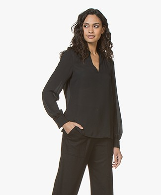 Filippa K V-neck Chiffon Blouse - Black