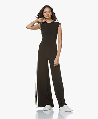 Norma Kamali Side Stripe Sleeveless Travel Jersey Jumpsuit - Black/Off-white Stripe
