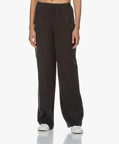 by-bar Dorris Cupro Straight Leg Pants - Jet Black