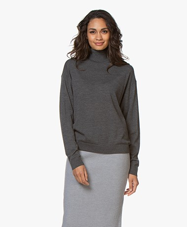 Drykorn Aluna Fine Knitted Turtleneck Sweater - Dark Grey Melange