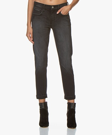Current/Elliott The Fling Relaxed Fit Jeans - 1 Year Worn Black Out