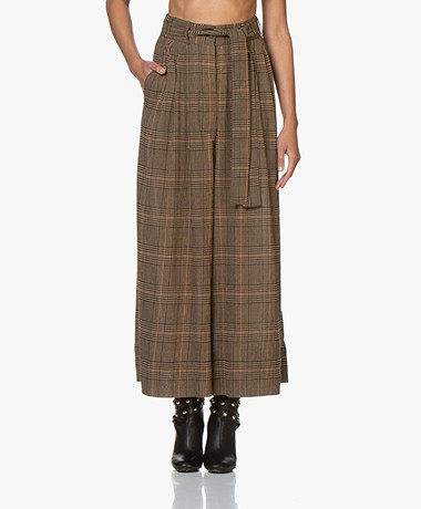 By Malene Birger Dinard Checked Wide Pants in Wool Blend - Tiger Eye