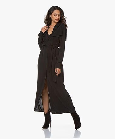 Denham Hyoko Cupro Blend Maxi Shirt Dress - Black