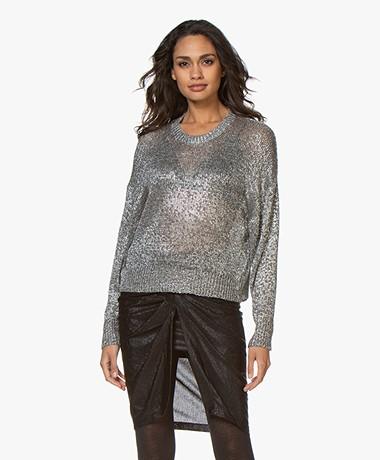 IRO Dokis Lamé Knitted Sweater - Dark Silver