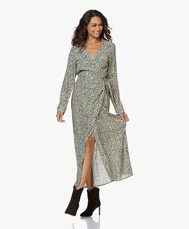 Denham Saru Camo Printed Maxi Wrap Dress - Green