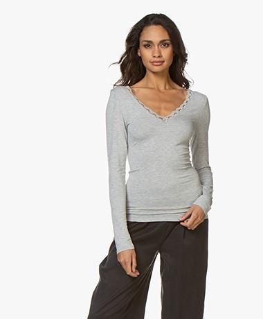 by-bar Basic Long Sleeve with Lace - Grey Melange