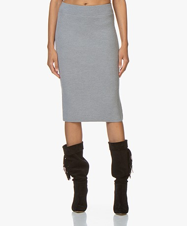 Drykorn Kama Knitted Pencil Skirt - Grey