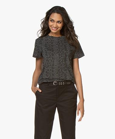 Ragdoll LA Vintage Python Print T-shirt - Grey Melange
