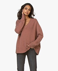 extreme cashmere N°124 Vital V-neck Cashmere Sweater - Terra
