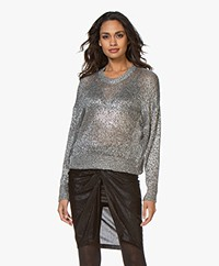 IRO Dokis Lamé Knitted Sweater - Dark Silver