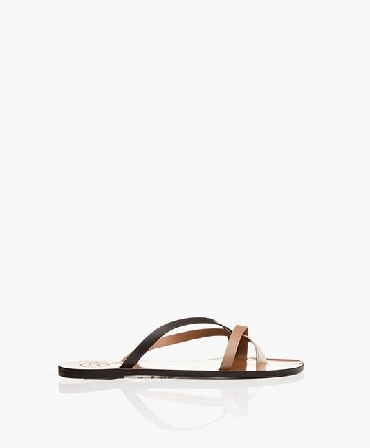 ATP Atelier Anise Leather Toe Slipper Sandals - Almond/Ice White/Black