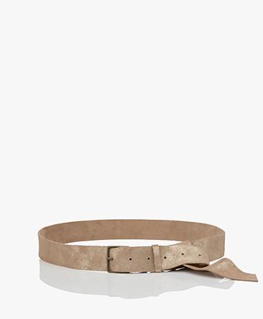 forte_forte Laminated Nubuck Leather Belt - Nude/Champagne