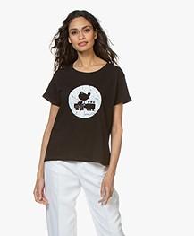 MKT Studio Trine Woodstock Print T-shirt - Zwart