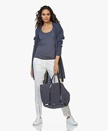 Sibin/Linnebjerg Line Open Cardigan in Merino Wool Blend - Dark Denim