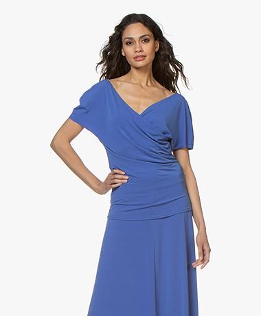 By Malene Birger Crepe Jersey Wrap T-shirt - Vintage Blue