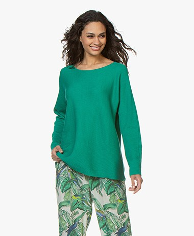 Repeat Rib Knitted Cotton Blend Sweater - Emerald