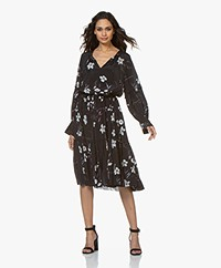 Closed Bo Midi Dress with Print and Ruffles - Black