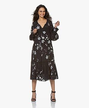 Closed Bo Midi Dress with Print and Ruffles - Black