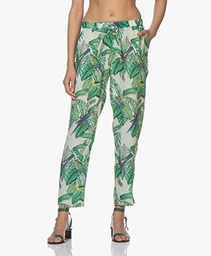 indi & cold Tropical Printed Crepe Pants - Dalia