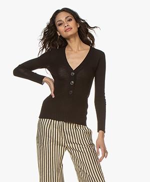 Pomandère Crepe Knitted V-neck Pullover - Black
