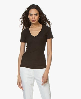 James Perse Slub Jersey V-neck T-shirt - Black
