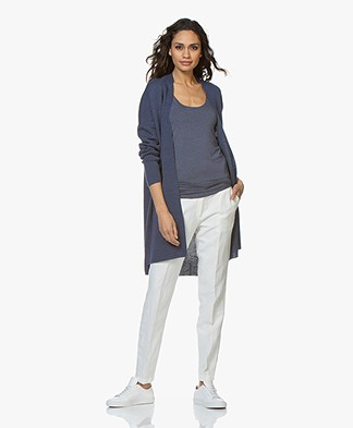 Sibin/Linnebjerg Line Open Cardigan in Merino Wool Blend - Dark Denim