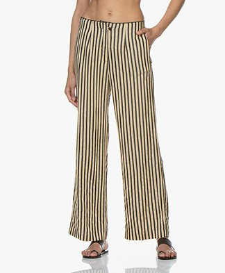 Pomandère Striped Twill Pants - Beige/Black