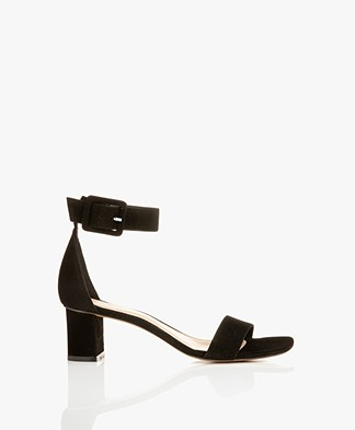 Filippa K Frances Suede Mid Heel Sandals - Black