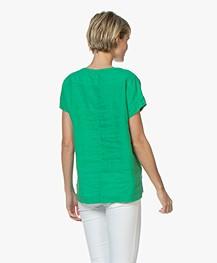 Kyra & Ko Amanda Linen Short Sleeve Blouse - Green