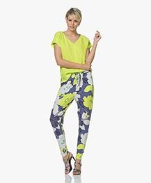 Kyra & Ko Amanda Linen Short Sleeve Blouse - Lime