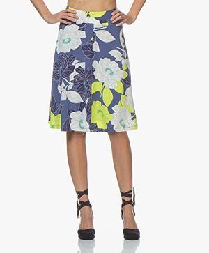 Kyra & Ko Janna Floral Jersey Circle Skirt - Indigo