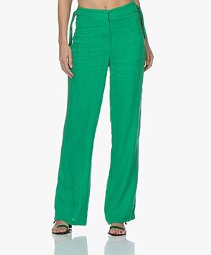 Kyra & Ko Roxx Wide Linen Pants - Green
