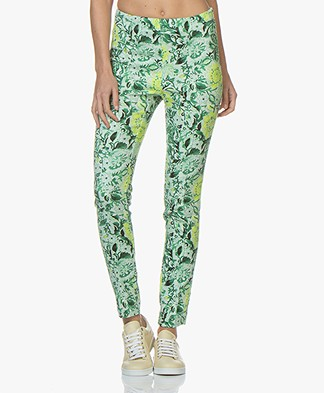 Kyra & Ko Billie Floral Stretch Pants - Green