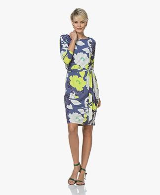 Kyra & Ko Brigitte Floral Jersey Dress - Indigo