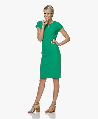 Kyra & Ko Kirsten Honeycomb Slit Neck Dress - Green