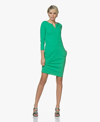 Kyra & Ko Moniek Travel Jersey Slit Neck Dress - Green