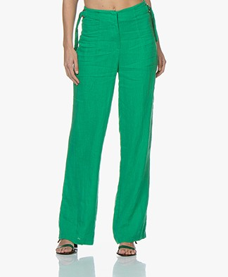 Kyra & Ko Roxx Wide Linen Pants - Green