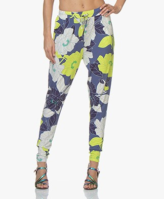 Kyra & Ko Saskia Floral Jersey Pants - Indigo