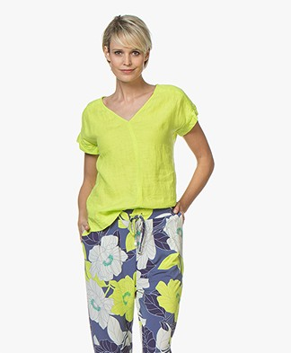 Kyra & Ko Amanda Linen Short Sleeve Blouse - Lime