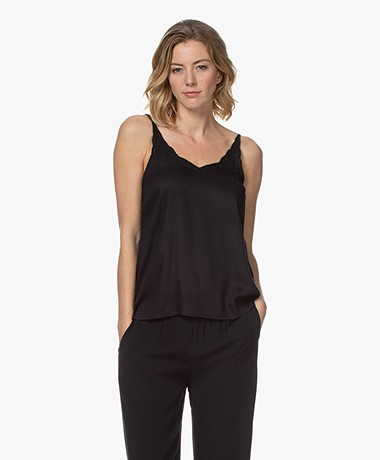indi & cold Embroidered Viscose Top - Black
