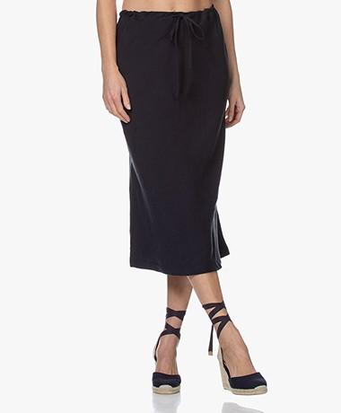 Josephine & Co Bela Bias-cut Tencel Blend Midi Skirt - Navy