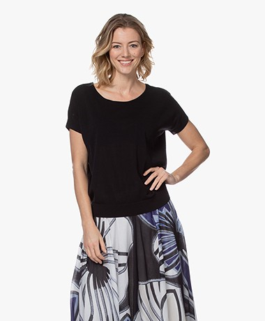Kyra & Ko Julinde S/S Katoenen Pullover - Zwart
