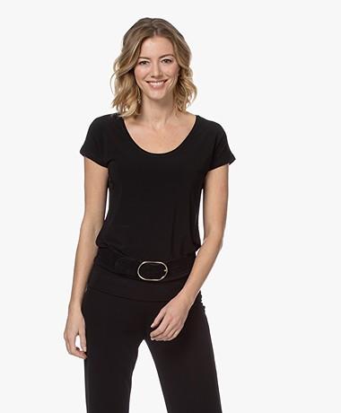 Kyra & Ko Trees Viscose Crêpe Jersey T-shirt - Zwart