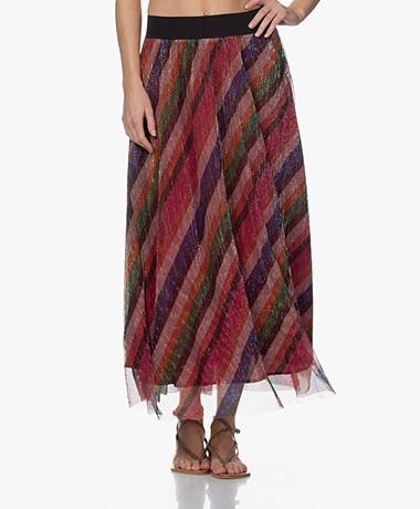 ba&sh Midnight Lurex Skirt with Stripes - Bougainvillea